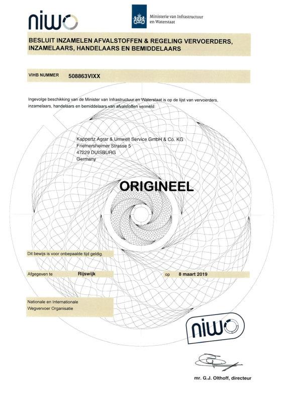 NIWO NL Abfallgenehmigung